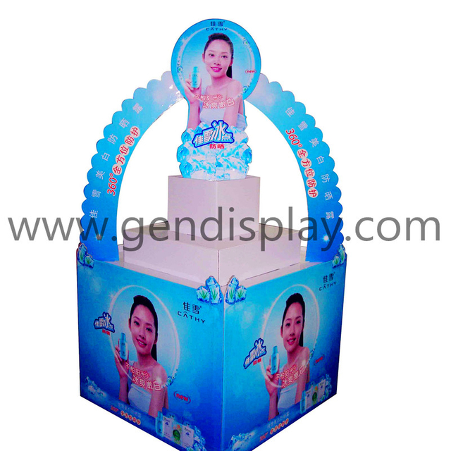 Promotional Cardboard Cosmetic Pallet Display Stand(GEN-PD002)