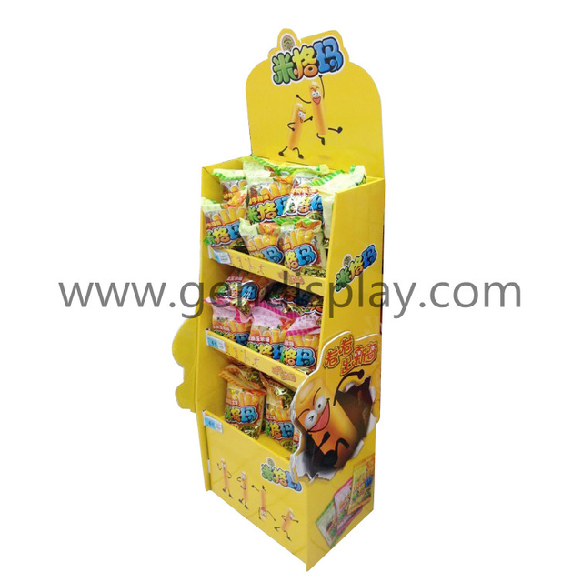 Pos Cardboard Display Shelf For Snacks, POP Custom Foods Display (GEN-FD308)