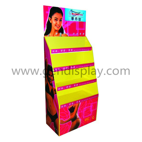 Promotional Cardboard Garments Floor Display Shelf (GEN-FD322)