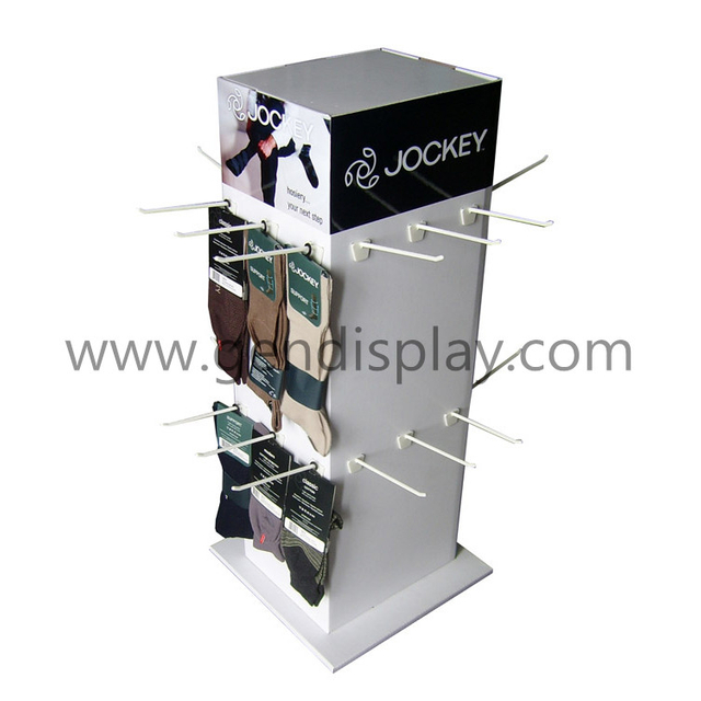 Cardboard Counter Display With Four Sides Hooks For Socks(GEN-CD227)