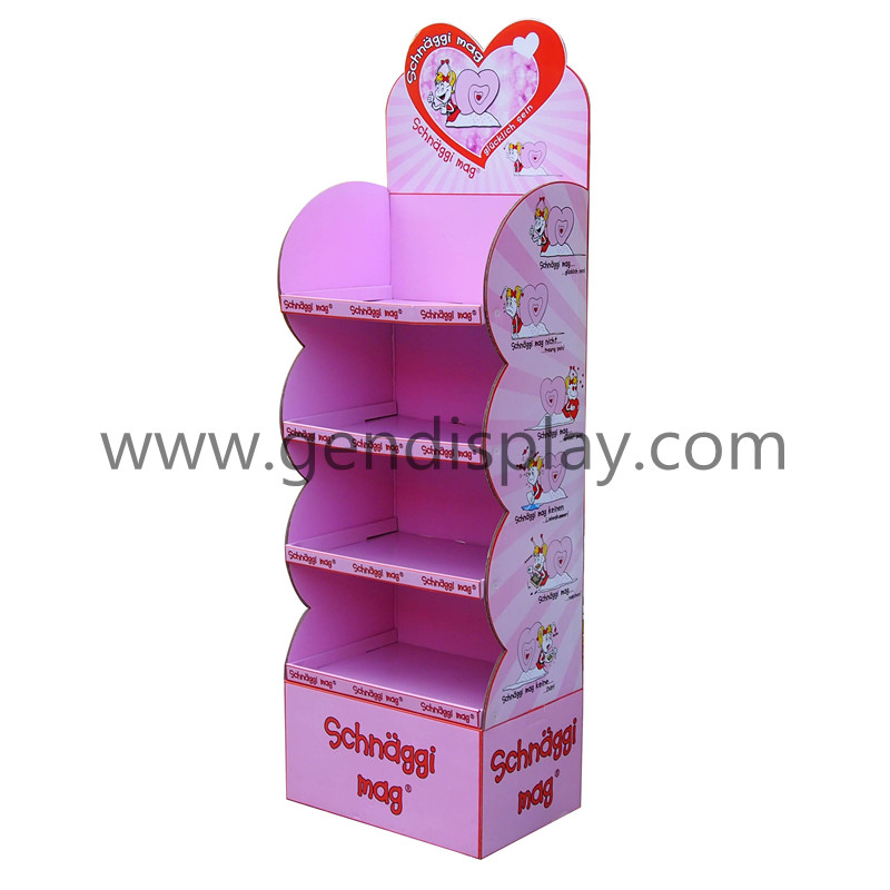 Promotional Cardboard Floor Display Stand With Four Shelves For Toys (GEN-FD242)