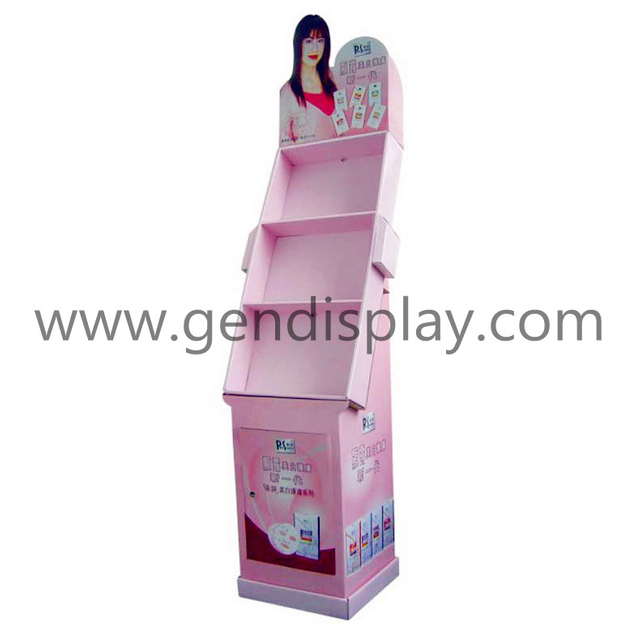 Pos Cosmetic Floor Display , Cardboard Makeup Display Stand (GEN-FD044)