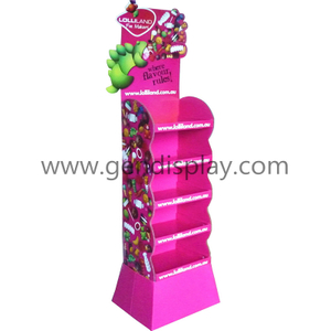 Supermarket Red Cardboard Floor Candy Display Stands with Five Shelves(GEN-FD068)
