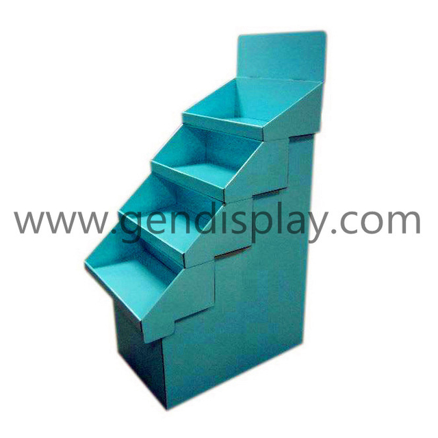 Custom Cardboard Trapeziform Floor Display, Pos Display Shelf (GEN-FD060)