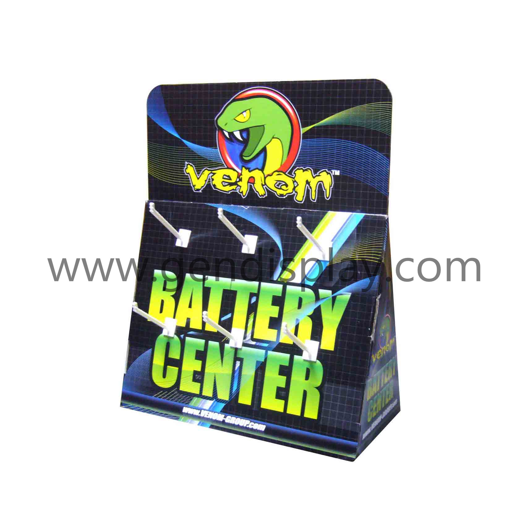 Custom Cardboard Hooks Display For Battery Promotion(GEN-CD024)
