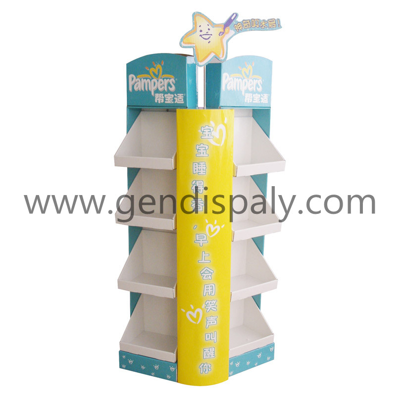 Cardboard Pampers Diapers Floor Display Unit, Custom Diapers Display(GEN-FD027)