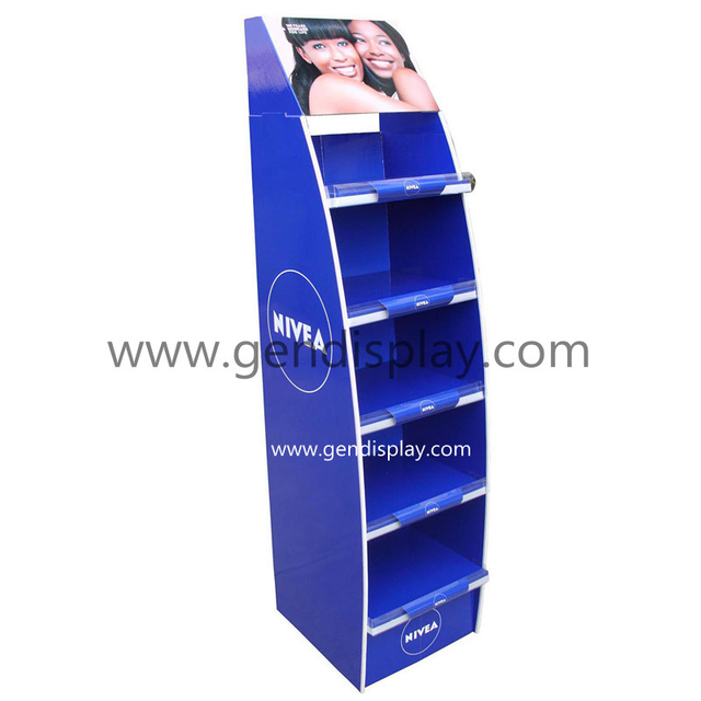 Custom NIEVA Cardboard Bule Floor Display Shelf For Cosmetic Promotion (GEN-FD133)